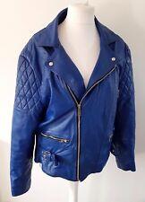 vintage COWHIDE blue biker leather jacket motorcycle silver zips size M