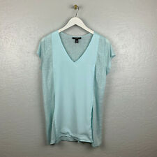 A Pea in the Pod Womens Maternity Sz L Blue Linen Woven Short Sleeve Shirt