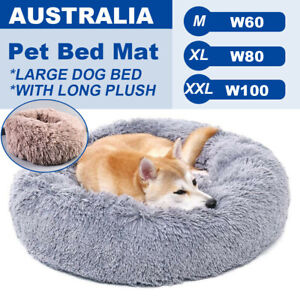 Pet Dog Cat Calming Bed Round Nest Warm Soft Plush Comfortable Deep Sleep Mat AU