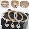 Women Lady 3Pcs/Set Gold Silver Rose Gold Bracelets Rhinestone Bangles Jewelry