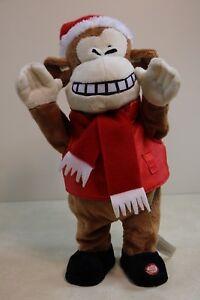 "Gemmy Christmas Jingle Bell Monkey Santa Hat 16"" Animated Plush"