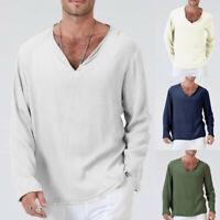 Men's Summer T-Shirt 100% Cotton Thai Hippie Shirt Beach Yoga Top V-Neck Fashion