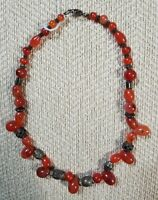 "STUNNING VINTAGE ESTATE HIGH END CARNELIAN BEAD 15"" NECKLACE - GORGEOUS"