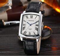 Men's Casual Retro Roman Numerals Square Dial Leather Quartz Wrist Watch