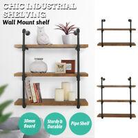 2/3 Tier Wall Industrial Shelf Pipe Shelving Iron Storage Bracket Bookshelf US
