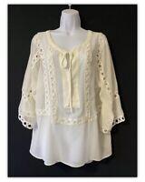 QVC Boho Chic L UK 16 Peasant Sheer Smock Tunic Cream Chiffon Cotton Lace Top