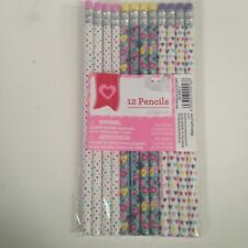 New! Set of 12 Fancy Pencils Hearts Polka Dots Sweethearts Pink Purple Yellow