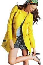 J.CREW CHERBOURG Women's Yellow Double Breasted Trench Coat Cotton/Linen Sz 8/10