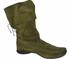 Vintage K+S Green Calf Length Slouch Suede Boots UK 6 NIB