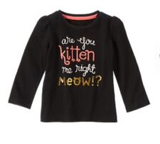 Gymboree RIGHT MEOW Black Are You Kitten Me Shirt Top Nwt 18-24 M new Girls