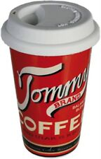 """Porzellan-Becher mit Silikondeckel Coffee to go """"Tommy's Brand"""" 16 x 10 cm rot"""