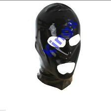 Latex Hood Full Mask Open Mouth & Eyes 3 Holes Stretchy Black Gimp Mask Hood