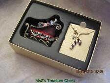 Monet 2008 Holiday Keepsake Sled Trinket Box w Candy Cane Charm Pendant * Nib *