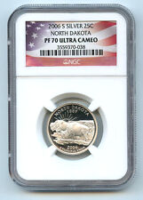 2006 S Silver North Dakota State Quarter NGC PF70 UCAM Proof Coin 25 C Flag