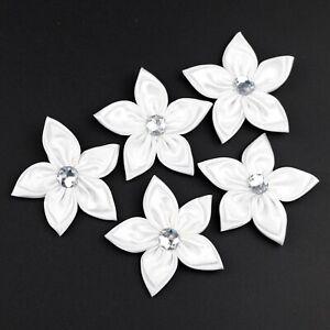 5cm Satin Ribbon Bow Flowers Rhinestone Appliques Wedding home Decor DIY Sewing