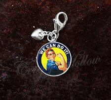 925 Sterling Silver Charm Rosie the Riveter We Can Do It WWII