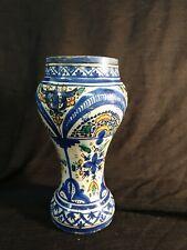 VASE TERRE CUITE émaillé décor bleu outremer   faience de Fes MAGHREB H 25,5 cm