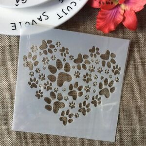 HEART Hearts Paw Paws Animal Dog Stencils Paint Plastic Stencil Reusable Mylar