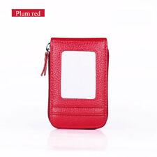 Wallets Genuine Leather Credit Card Holder RFID Blocking Zipper Thin Pocket BIN