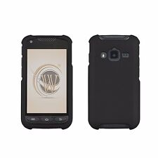For Samsung Galaxy Rugby Pro i547 Protective Snap On Slim Case BLACK Rubber Feel