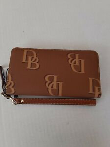 Dooney and Bourke Large Monogrammed Collection Zip Around Leather Wristlet/...
