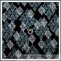 BonEful Fabric FQ Cotton Quilt Black Gray B&W Diamond Flower Shabby Chic Cottage