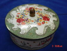 Vintage Tin Round Roses Flowers Greens England USED EMPTY