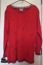 Vintage Imagio Women's Size M Red Tunic Sweater Floral Embroidery/Crochet