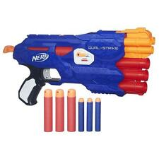 Nerf B4620 Elite and Mega Dual Strike Whistler Darts N Strike Blaster Gun - Blue