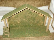 Nativity Stable Wooden with Moss Handmade 24 inches by 9 inches Tall 3226
