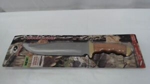 14-inch Bowie Knife, Full-Tang Fixed Blade Wood Handle with Leather Sheath