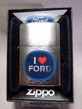 """Zippo  """"I LOVE FORD"""" - Chrome brushed - NEU & ovp - #649"""