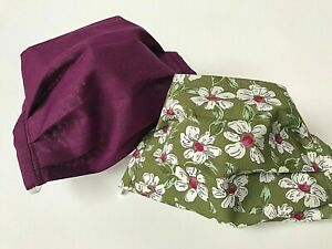 PACK OF 2 ADULT REUSABLE WASHABLE PRETTY FLOWERS & WINE MAROON PLAIN FACE MASKS