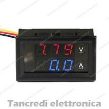Voltmetro amperometro 100V 50A rosso blu da pannello shunt display digitale DC
