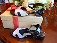 $598 Robert Clergerie White Black Leather Sandals EU37, US 6.5-7 FRANCE 99%NU