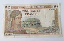 Billet 50 Francs Cérès 1936