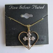 Fine Silver Plated Gold Heart & Silver Cross Pendant Necklace, FREE S&H