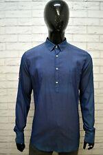 Camicia Blu Uomo MESSAGERIE Taglia L Maglia Shirt Man Herrenhemd Manica Lunga