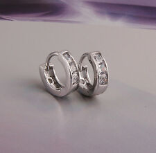 Platinum Plated Jewellery Small Baby Girls Hoops with Zircons Earrings E447