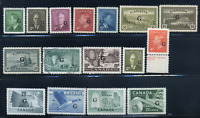 Canada #O16/O45 mint/used VF/XF 1950/1956 Official G Overprint Part Set