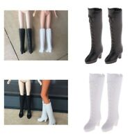2 Pair 1/6 Dolls Shoes Boots for Blythe for Momoko Party Outfit, White+Black