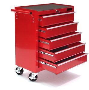 Carro Caja de Herramientas 06192 Taller Movil 5 Cajones Rojo Chapa de Acero 4 Ru