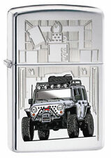 Zippo 28508, Zippo Jeep, High Polish Chrome Lighter, ***6 Extra Flints/Wick***