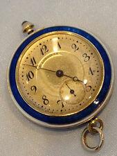 Longines 14k Gold Blue Enamel and Diamond Vintage Pocket Watch