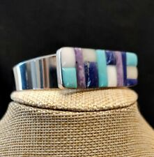 Jay King Turquoise Lapis and Multistone Inlay Sterling Silver Cuff Bracelet $200