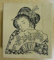 Japanese Lady with Fan Rubber Stamp by JudiKins
