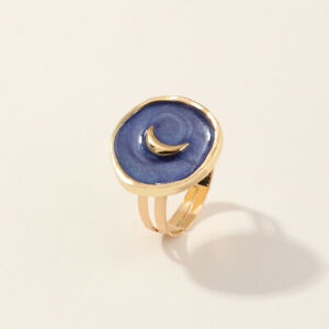 Women Fashion Simple Gold Oil Drop Blue Moon Round Ring Adjustable Jewelry