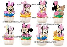30 1st birthday minnie mouse girl STAND UP Cupcake Toppers Edible Decorations
