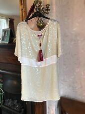 New Monsoon Dress/Tunic Cream Sequin Dress Size 18