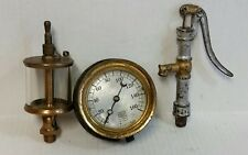 VINTAGE COLLECTABLES, STEAM PUNK LOT, BRASS GAUGE MOON INDICATOR, PUMP, OILERS